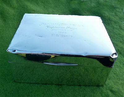Wood Lined Silver Cigarette Box - Pannal Golf Club, Captain's Prize, 1936 - A/f