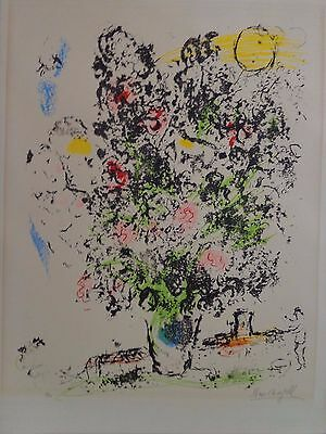 Marc Chagall, bouquet with lovers lithograph, Signed in Plate numbered 19/100