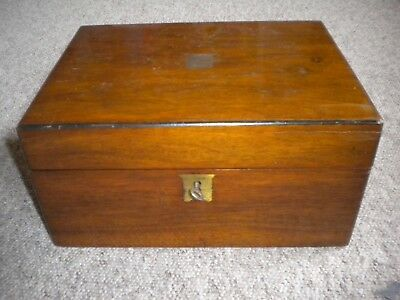 Victorian Writing Slope Box with Key, Ink Bottle and Inscription