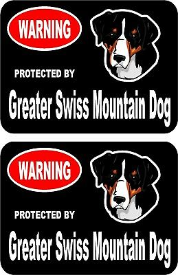 2 protected by Greater Swiss Mountain dog home window vinyl decals stickers #C