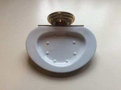 Vintage Porcelain Ceramic And Brass Wall Mounted Soap Dish Portugal