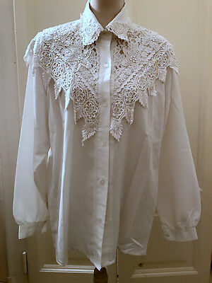 Camicia bianca pizzo merletto vintage '80s lace embroidered vtg white shirt
