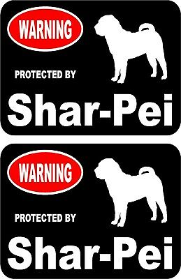 2 protected by Shar Pei dog car home window vinyl decals stickers #A