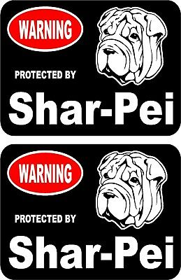 2 protected by Shar Pei dog car home window vinyl decals stickers #B