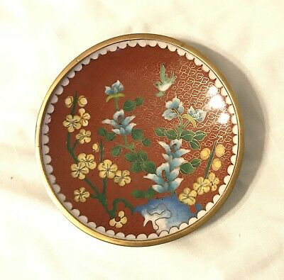 BEAUTIFUL Vintage Chinese Cloisonne Enamel Gilt Brass Plate