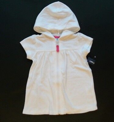 OLD NAVY INFANT GIRL SHORT SLEEVE HOODED LOOP TERRYCLOTH SWIM COVER UP (white)