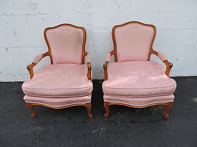 Pair of Large French Carved Living Bed Room Fireplace Side Chairs 7547
