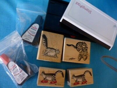 Kliban Cat Lot Of (4) Rubber Stamps +  (2) Red & Black Ink Pads &  (2) Inks