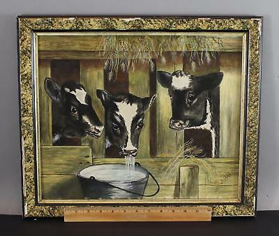 Antique Signed 1901 American Folk Art Country Cow Calves Watercolor Painting NR