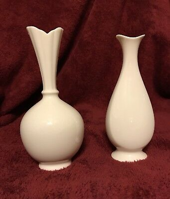 Two Lennox Ivory Bud Vases Made in USA Marked Special Underside