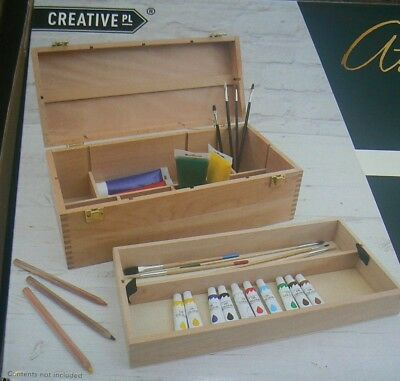 CREATIVE Artists Beech Wood 2 Tier Storage and Accessory Organizer Box / Chest