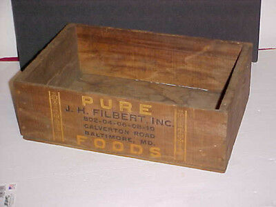 Antique Pure Foods Wood Wooden Box J.H. Filbert Baltimore MD