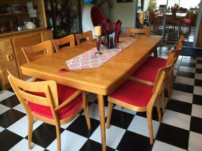 Heywood Wakefield  Dining Room Set 8 Dogbone Chairs And M789G Large Table