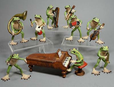 9 Vintage Miniature Austrian Bronze Frogs Musical Instrument Band Sculptures NR