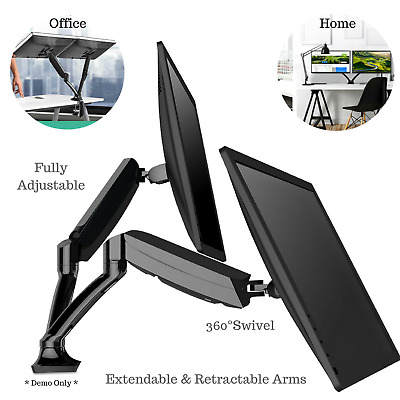 Fully Adjustable 2 Screen Computer Monitor Stand Double Arm Vesa Mount Swivel