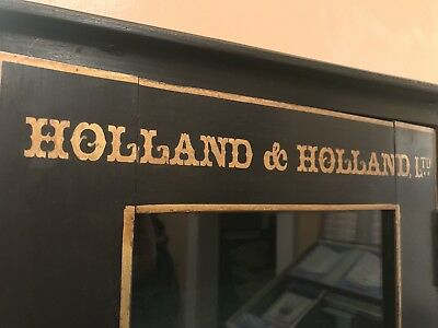Beautiful Antique Holland & Holland Glass and Wood Display Gun Cabinet with Key