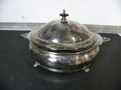 Vintage  Crescent Silver Plate Covered Buffet Server With Pyrex Insert 1 1/2 QT