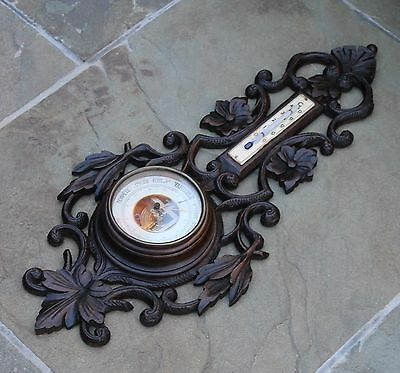 Antique French Dark Oak Barometer Thermometer Finely Carved Floral Fan Leaves