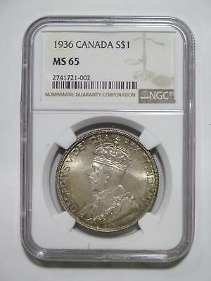 Canada Dollar 1936 $1 Ngc Ms65 Graded George Vi Toned World Coin Collection Lot