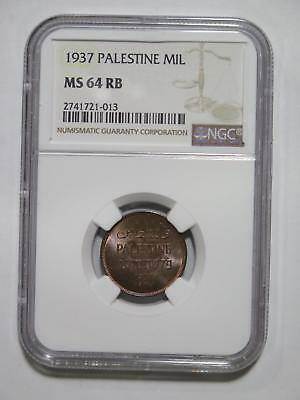Palestine 1937 1 Mil Hebrew Type Ngc Ms64 Toned Old World Coin Collection Lot