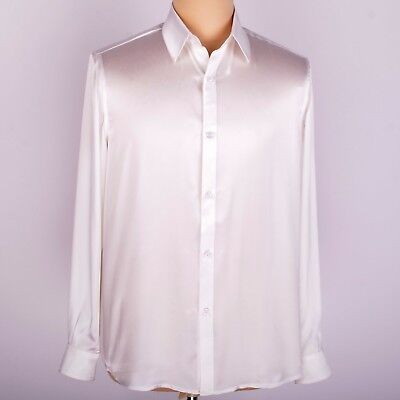 Mens 19 Momme 100% Pure Silk Business Formal Casual Shirts Long Sleeve