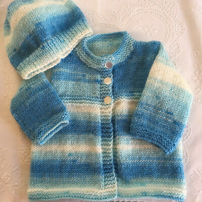 * 3 - 6 Months  * Baby Jacket (Warm) * Blues & White * Aust Hand Knitted *