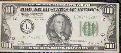 1928A $100  Dollar Bill  Fed.Res.Note. L00944290A. Redeemable In Gold   A0044