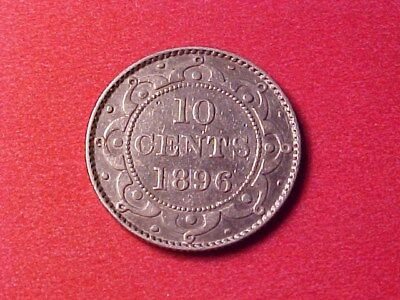 Newfoundland 10 Cents Silver 1896 Nice Detail Victoria