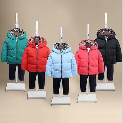 Winter Kids Boys Girls Duck Down Clothes Hooded Outerwear Warm Down Jacket Coat