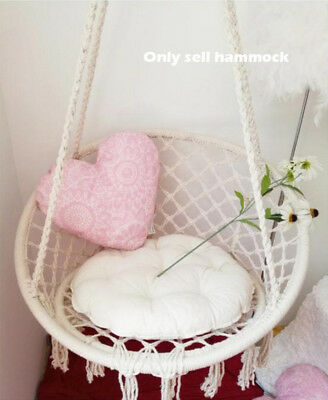 Deluxe Hanging Hammock Chair Woven Rope Swing Cushion Indoor Outdoor Camping