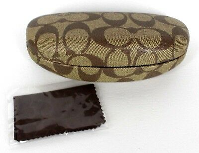 Coach Glasses Clam Shell Snap Case Large Brown Rx Sun Eyeglasses Cleaning Cloth