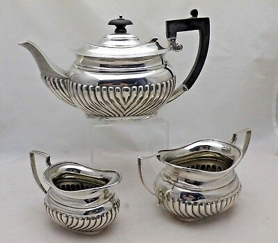 Antique Solid Sterling Silver 3 Piece Queen Anne Style Tea Service Chester 1918