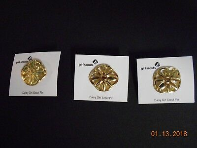 (3) Daisy Girl Scout Membership Pins, New on card