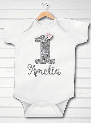 Personalised Silver Glitter First 1st Birthday Bow Baby Girl Grow Vest Free P&P