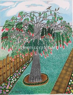 "$60.00 OFF - Nature Bottle Brush Tree ORIGINAL Pointillism 11""x14""  by LVZ"