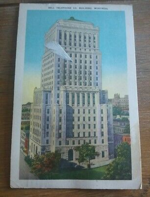 1950 Montreal postcard Canada to London Bell Telephone Co. Building