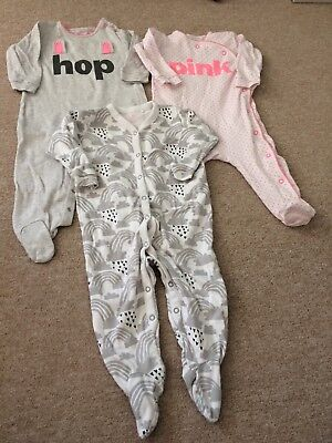 set of 3 next girls sleepsuits bunny 9-12 months