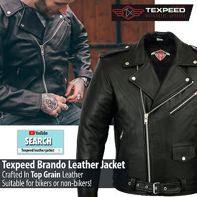 M-5XL - Mens Cowhide Leather Marlon Brando Style Leather Classic Fit Jacket