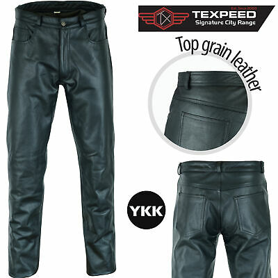 Mens Black Soft Cowhide Leather Motorcycle Motorbike Biker Jeans Trousers Pants