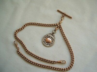 Antique Rolled Gold Plated Gents Double Albert Pocket Watch Chain