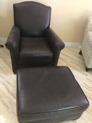 Pottery Barn Leather Chair With Leather Ottoman