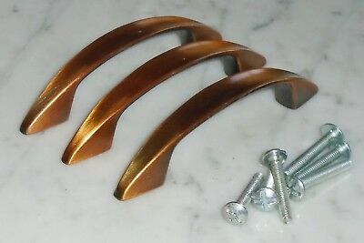 3 Vintage Mid Century Concave Copper Cabinet Drawer Pull Handles - 4 1/8 inch