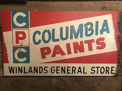 Original Double sided Columbia Paints Metal Sign Winlands General Store