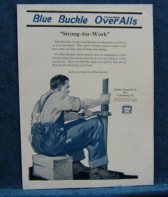 Jobbers Blue Buckle Overalls 1921 Ad ~ Lynchburg VA  ~Plumber Using Pipe Wrench