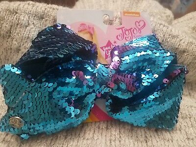 NWT JoJo Siwa mermaid bow purple blue sequin large  new