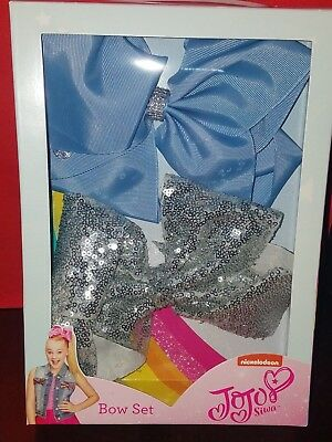 NWT JoJo Siwa bow set lot large blue rhinestone silver sequin bows