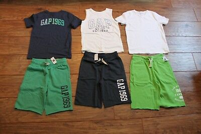 Boys Gap size 8 lot of 6 summer outfits/sets shorts are nwt/tops euc