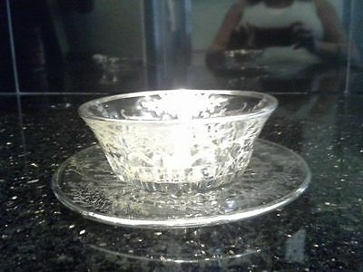 Vintage Silver Overlay Glass Small Serving Relish Salsa Dish And Saucer