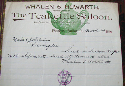 #14 - AWESOME! 1896 old TEAKETTLE WHISKEY SALOON letterhead NEEDLES CA Whalen