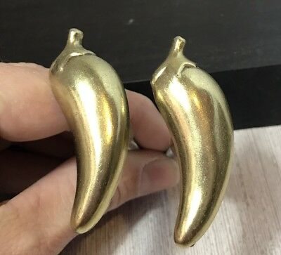 "VTG 2 1/4"" hot CHILI PEPPER Cabinet Knob Brass Garden Drawer Pull jalepeno SW"